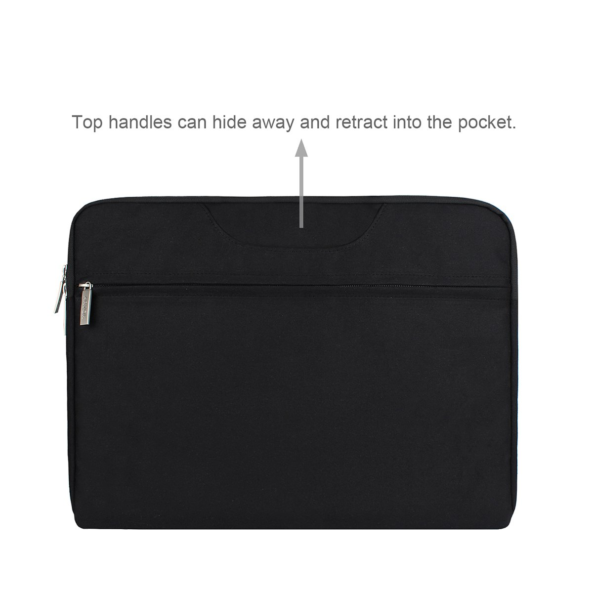 Arvok 15 15.6 Inch Multi-Color & Size Water-resistant Laptop Sleeve Bag with Handle/Notebook Computer Case/Ultrabook Briefcase Carrying Bag, Black by ARVOK (Image #2)