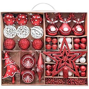 Victor's Workshop Addobbi Natalizi 92 Pezzi di Palline di Natale, 3-15 cm Tradizionali Ornamenti di Palle di Natale Infrangibili Rossi e Bianchi per la Decorazione Dell'Albero di Natale 10 spesavip