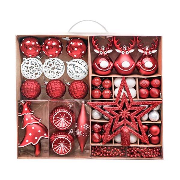 Victor's Workshop Addobbi Natalizi 92 Pezzi di Palline di Natale, 3-15 cm Tradizionali Ornamenti di Palle di Natale Infrangibili Rossi e Bianchi per la Decorazione Dell'Albero di Natale 1 spesavip