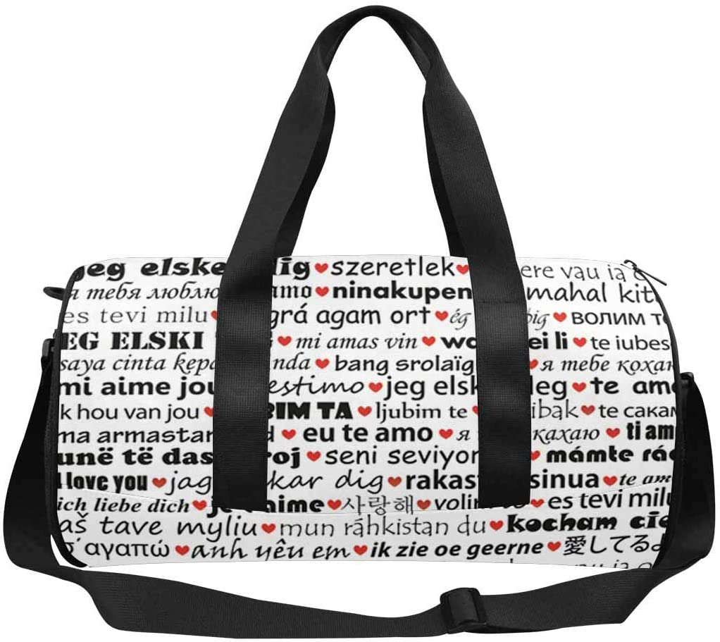 INTERESTPRINT I Love You in Different Languages Adults Travel Tote Duffel Bag Carry on