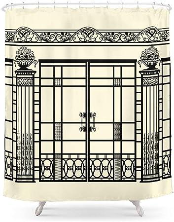 Suminla-Home de Salle de Bain Art Déco, Art Nouveau Ferronnerie : Noir et  crème Rideau de Douche 182,9 cm par 182,9 cm