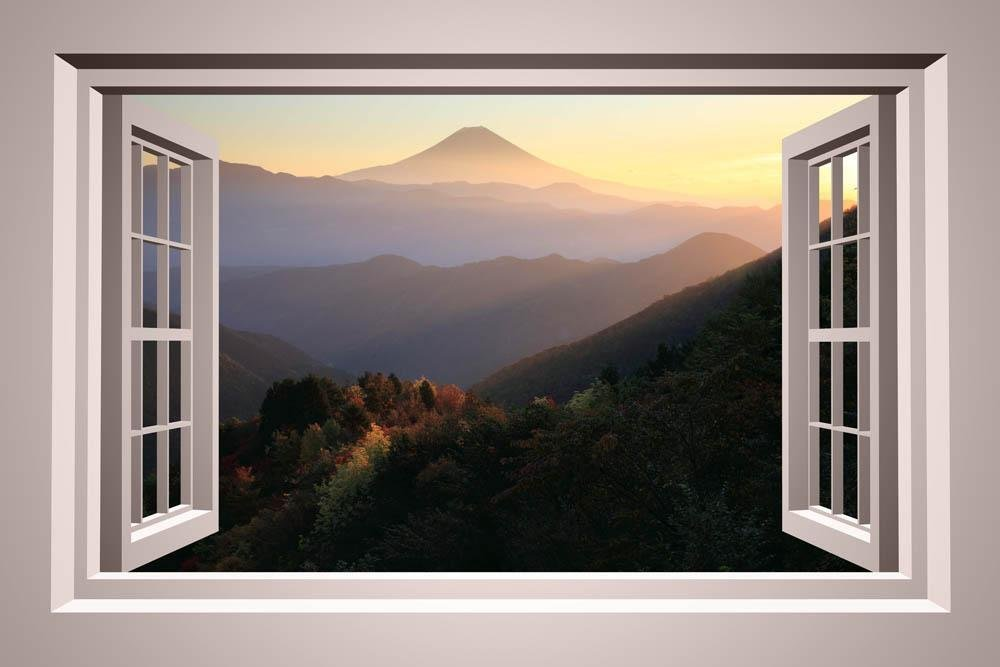 Wallmonkeys Mountain Window Wall Mural Peel and Stick Graphic (24 in W x 16 in H) WM169246