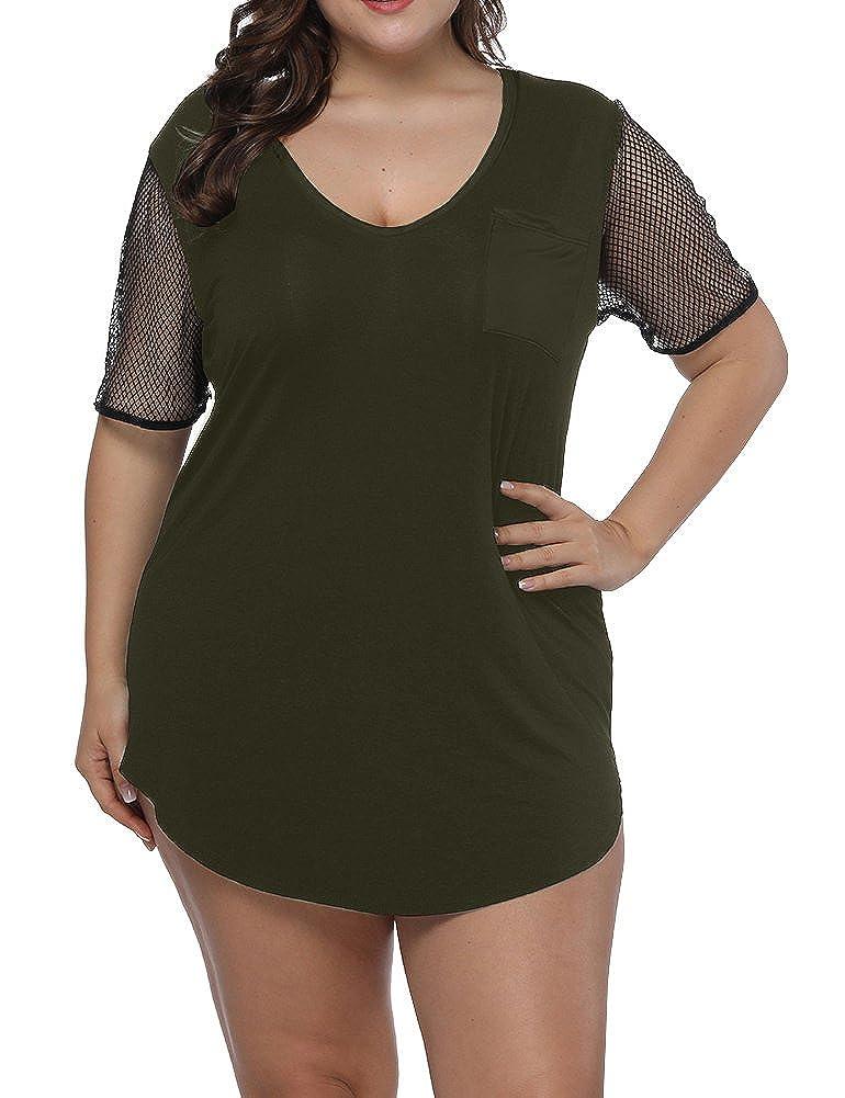 91593ff96fd94 Top1  Allegrace Women s Plus Size Sexy V Neck Raglan Fishnet Short Sleeve  Top T Shirt