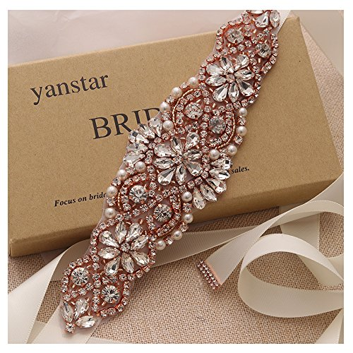 Fashion Belt Focus Womens (Ivory Sash Crystal Applique Wedding Bridal Belts In Rose Gold With Pearls Beaded On Wedding Prom Dress-7.7In2In)