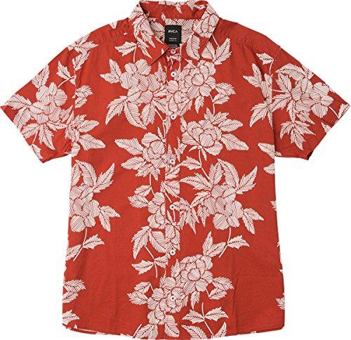 RVCA Men's Bora Short Sleeve Woven Button Down Shirt, Baked Apple, (Button Up Woven Sport Shirt)