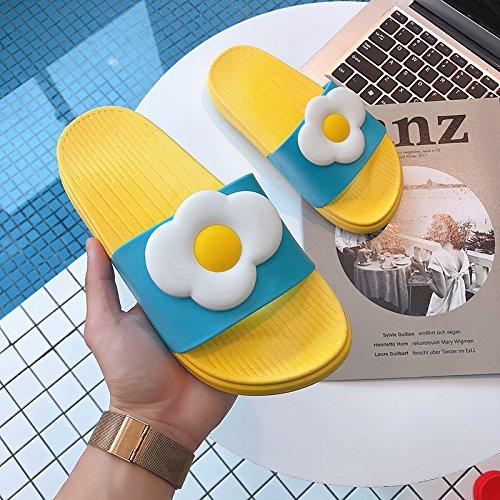 dentro carino home home fuori la giallo d'uovo donne coppie e e morbido da sandali bagno terreno cool Estate pantofole casa personalizzato fankou vasca 39 qWRnavta