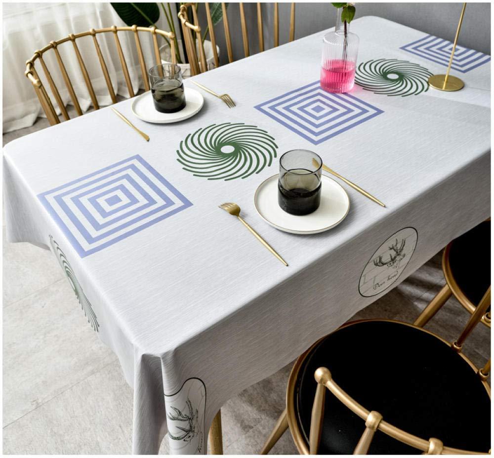 WJJYTX Wachstuch tischdecke, Quadrat Groß Abwischbar PVC Vinyl Tischdecke Esstisch Abdeckung Schutzfolie Blau Geometrie @ 140 * 200