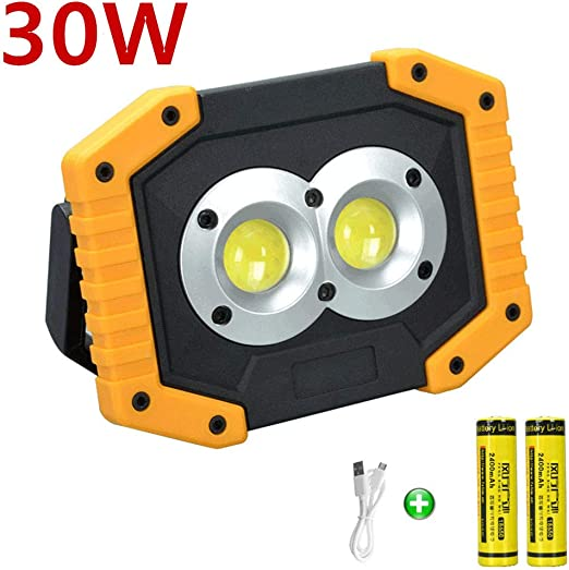 longdafei Luz de Inundación Recargable, 30W Foco LED Proyector ...