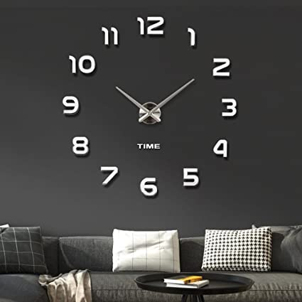 Vangold Frameless DIY Wall Clock 3D Mirror Wall Clock Large Mute Wall  Stickers For Living Room