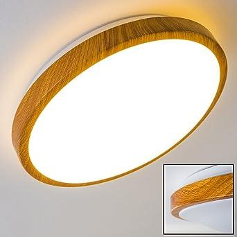 Bad Deckenlampe Sora Wood Mit Warmweißem Licht In Holzoptik   Deckenstrahler  Für Badezimmer   Flur
