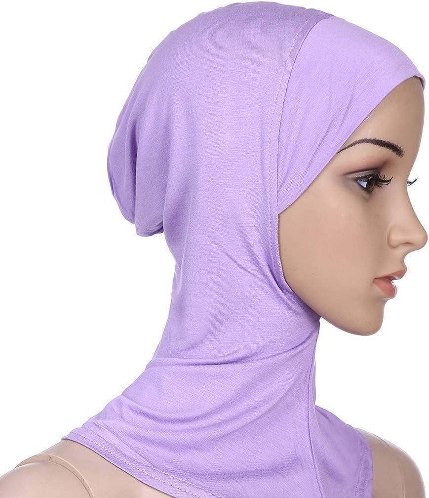 Modal Wickeltuch einfarbig Kopftuch hell Vaeiner Kopfschal Damen dehnbar Turban Haarausfall islamisches Untertuch Einheitsgr/ö/ße 2 Hijab Cap Muslim Full Cover