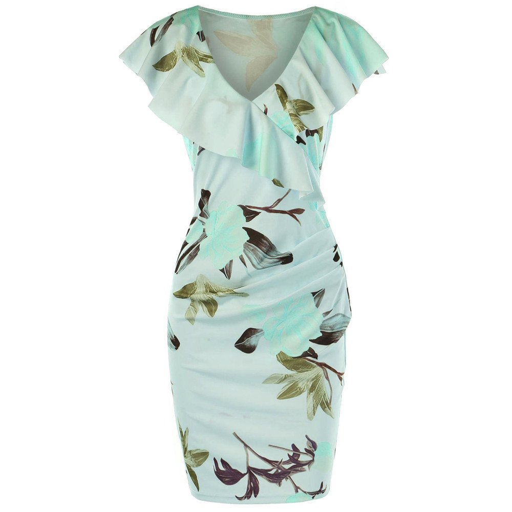 Women's Vintage Floral Ruffle Short Sleeve Party Sexy Bodycon Dress Flounce Knee Length Tunic Beach Dress Green