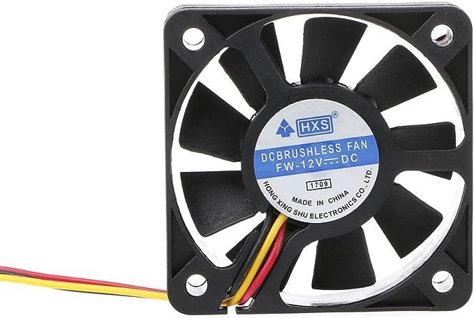 JENOR Mini ventilateur de refroidissement /à 9 lames 50 mm x 50 mm x 10 mm DC 12 V 3 broches sans balais