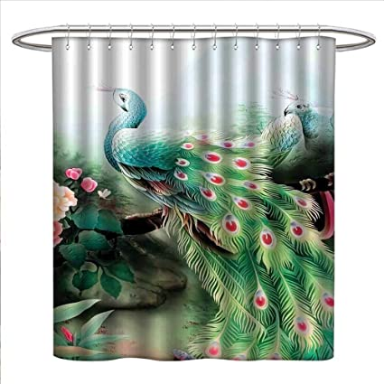 Peacock Shower Curtains With Hooks Summer Flower Fantasy Garden In Vibrant Colors Painting Effects Nature
