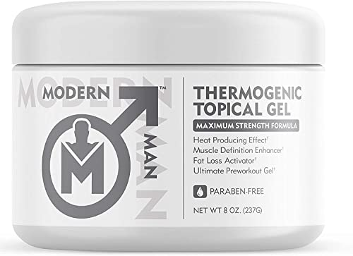 Modern Man Thermogenic Fat Burning Cream – Belly Fat Burner for Men – Skin Tightening Sweat Enhancer Gel Burn Stomach Fat Fast for Defined Six Pack Abs Steel Physique Bodybuilding Weight Loss