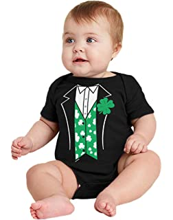 Patricks Day Leprechaun Baby Vest With a Shamrock and Bow Tie Design Full St