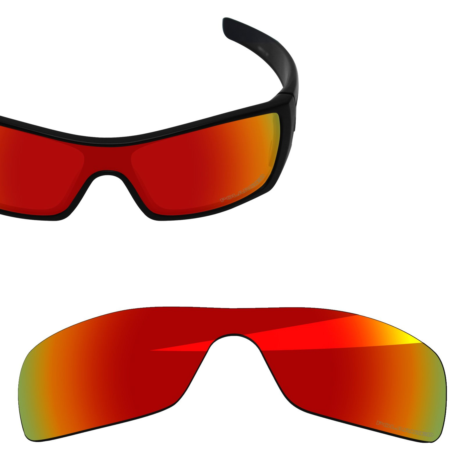 BlazerBuck Anti-salt Polarized Replacement Lenses for Oakley Batwolf - Fire Red by BlazerBuck
