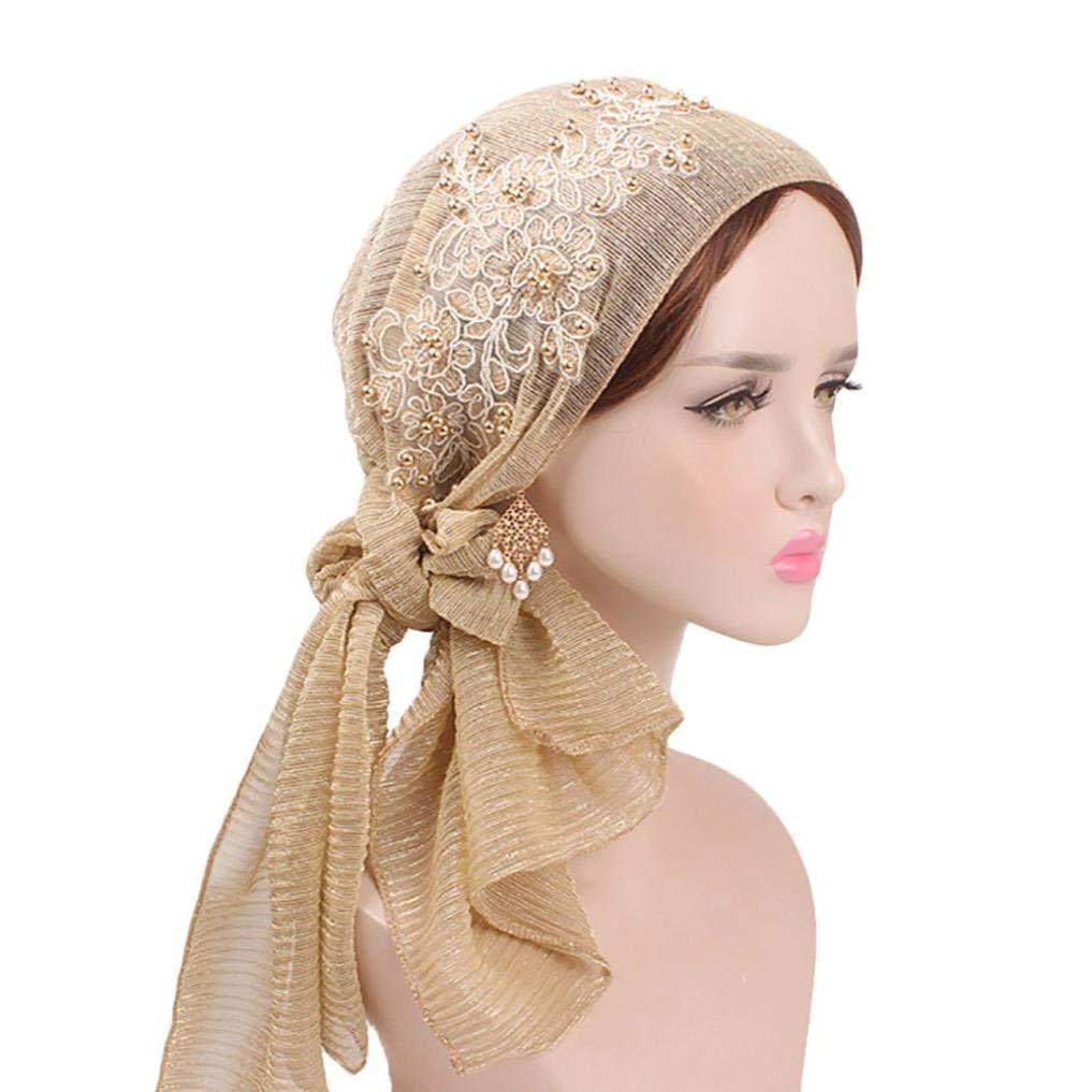 EnjoCho Women Silk Floral Pearl Muslim Head Scarf Wrap Cap Stretch Retro Turban Hat (Black)