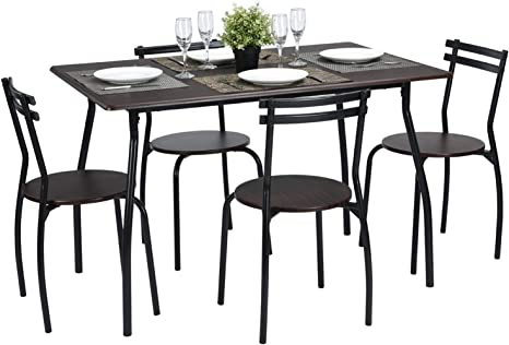Amazon Com Kitchen Dining Table Set With Chairs Retro Wood Desk And Seat Table Chair Sets