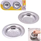 "2PCS Stainless Steel Sink Strainer for Garbage Disposal By Hoxha, Easy Handle Portable Kitchen Drain Strainer Basket - Large Wide Rim 4.5"" Diameter"