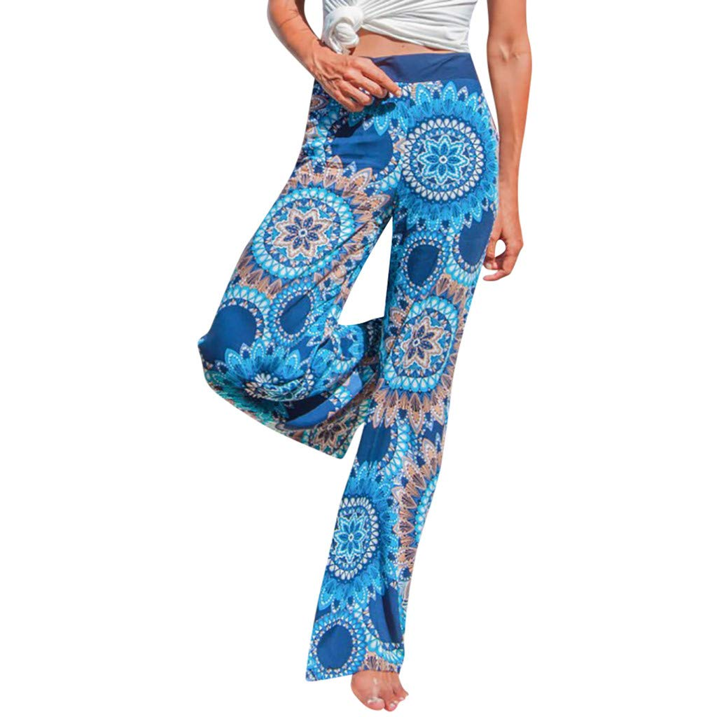 Pervobs Women Summer Casual Boho Floral Printing High Waist Wide Leg Pants Holiday Daily Loose Leggings Trouser(M, Blue) by Pervobs Women Pants (Image #1)