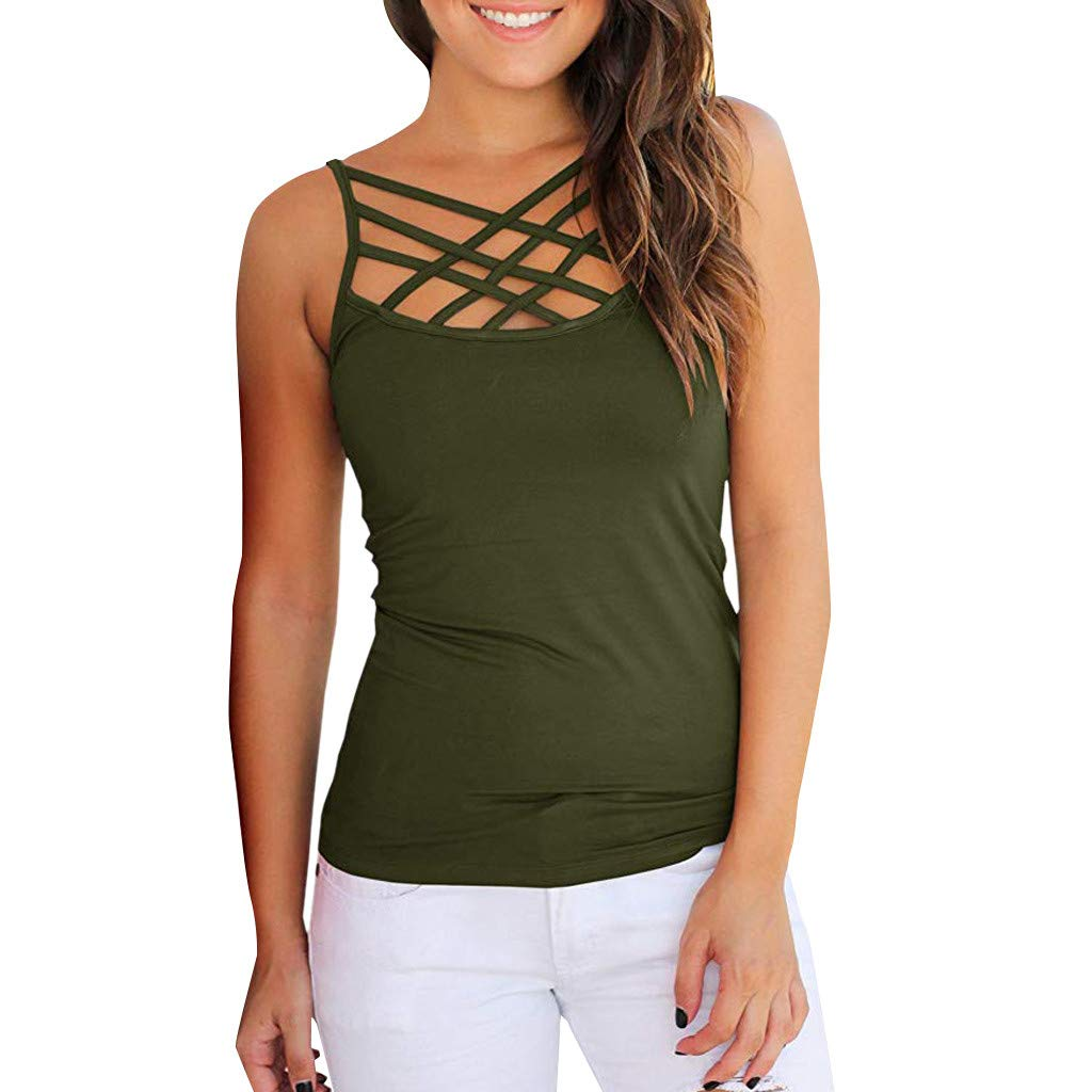 MALLOOM Women Summer Sleeveless Strappy Criss Cross Tank Top Army Green