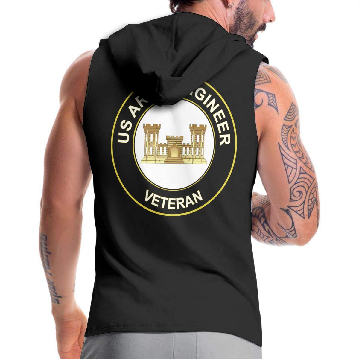 Ice-Long Out X US Army Veteran Army Engineer Mens Fashion Sleeveless Zip-up Hoodie Black with Pocket