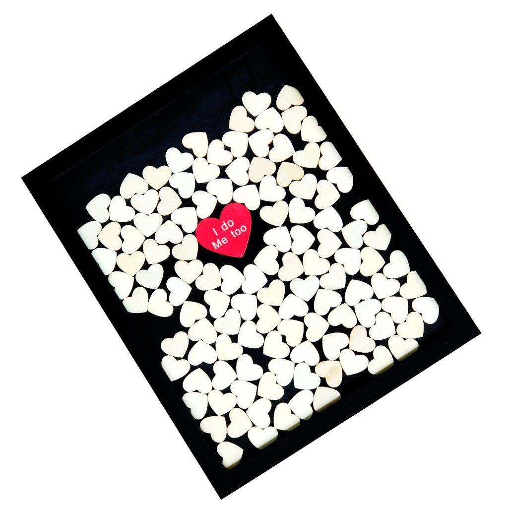 ハートドロップス ウェディング ゲストブックフレーム メモリアル 装飾 結婚式 ドロップ ウッド ゲスト ブック フレーム B075GKDB9F