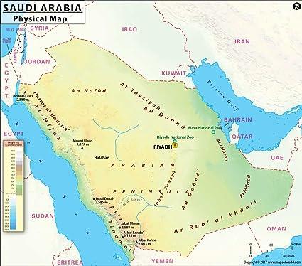 Cartina Yemen.Saudi Arabia Physical Map 36 W X 31 37 H Amazon Co Uk Office Products