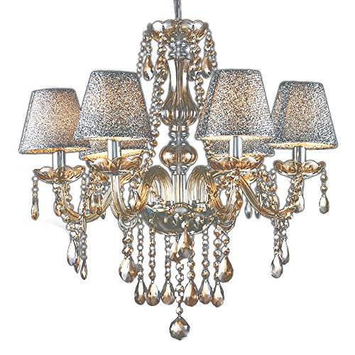 MAMEI Luxurious Modern Crystal Candle Chandeliers Lighting Pendant Ceiling Lights Fixture Lamp H23.6 X W21.65 with Lamp Shade