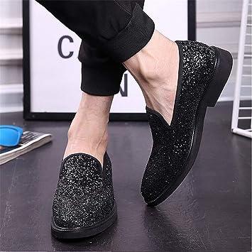 YAN Zapatos de Hombre Moccasin Glitter Glitter Verano/Otoño British Mocasines y Slip-Ons Dorado/Negro / Plateado/Brillo Espumoso/Boda / Fiesta y Noche: ...