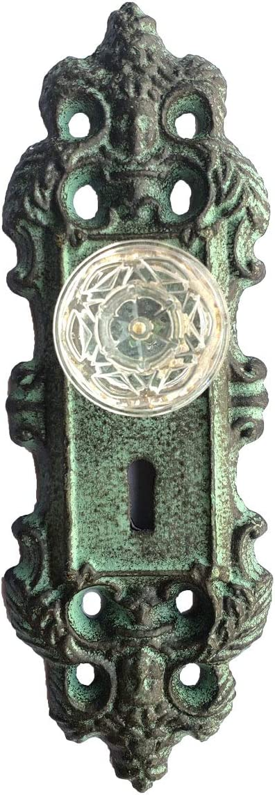 Dark Rustic Primitive Green Color Finish - Old Vintage Design ABC Products Key Hole Door Lock Plate Colonial Rustic Heavy Cast Iron Wall Hanging Decoration or Hook -