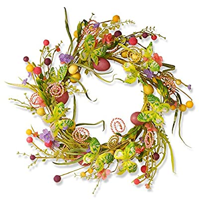 National Tree Company Garden Accents 24 in. Easter Wreath with Candy Eggs and Butterflies