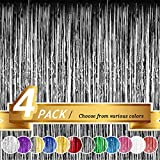 BTSD-home Black Foil Fringe Curtain, Metallic Photo Booth Backdrop Tinsel Door Curtains for Wedding Birthday Bridal Shower Baby Shower Bachelorette Christmas Party Decorations