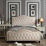 King Size Bed Dimensions in Feet Rosevera R031KA38KA37K Platform Bed Headboards, King, Beige