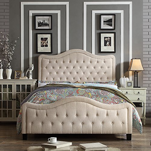 Rosevera Platform Bed Turin Upholstered Panel, Queen, Beige