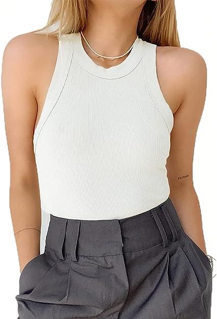 ANYFIT WEAR Camiseta sin Mangas para Mujer Camisas de Punto de Verano Sexy Camisa Elegante sin Mangas Top de Punto Camisa sin Mangas con Cuello ...