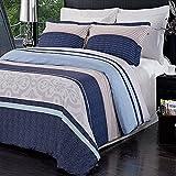 3pc Modern Contemporary Navy Blue Mens Boys Bedding Duvet Cover Set Full/Queen