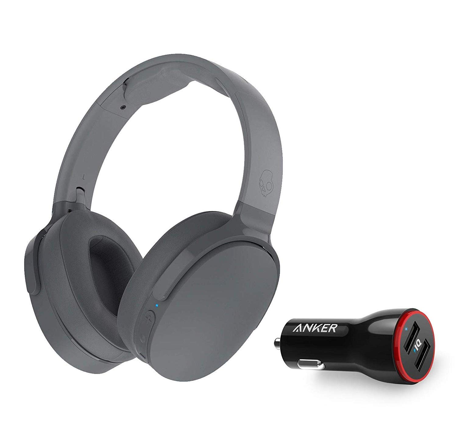 Skullcandy HESH 3 Noise Canceling Over-Ear Wireless Bluetooth Headphone Bundle with Anker 2-Port USB Car Charger - Gray