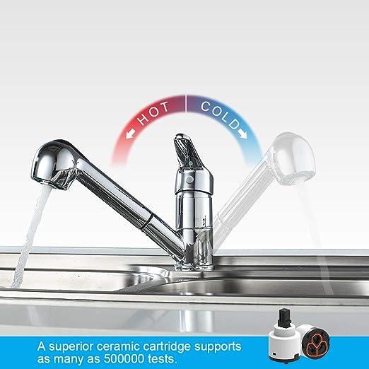 K/üchenarmatur Chrom Silber IBERGRIF M14550 Roma Sp/ültischbatterie mit ausziehbarer Brause Wasserhahn
