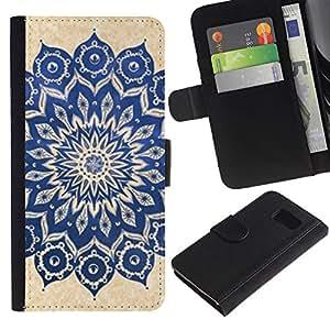 APlus Cases // Samsung Galaxy S6 SM-G920 // India Yoga Zen paz floral Diseño // Cuero PU Delgado caso Billetera cubierta Shell Armor Funda Case Cover Wallet Credit Card