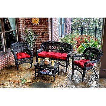 Amazon.com: Juego de asientos de mimbre para exteriores de 8 ...