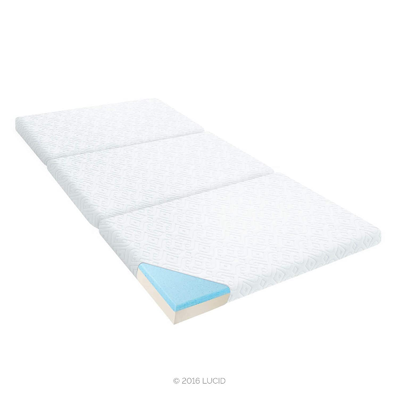 "Amazon.com: LUCID 3"" Folding Gel Memory Foam Mattress, Twin: Kitchen &  Dining"