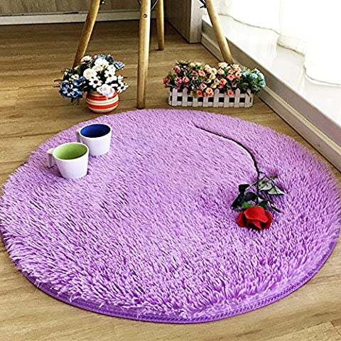 Junovo Round Children Rugs Kids Fluffy Anti-Skid Area Rug Shaggy Carpet Mats For Livingroom Bedroom 4 feet by 4 (Shaggy Purple Rug)