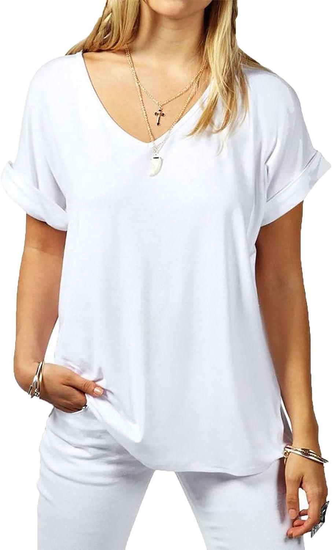 MMT - Camiseta ancha para mujer, con cuello en V y manga con vuelta, talla 36 – 54 blanco S : Amazon.es: Ropa y accesorios