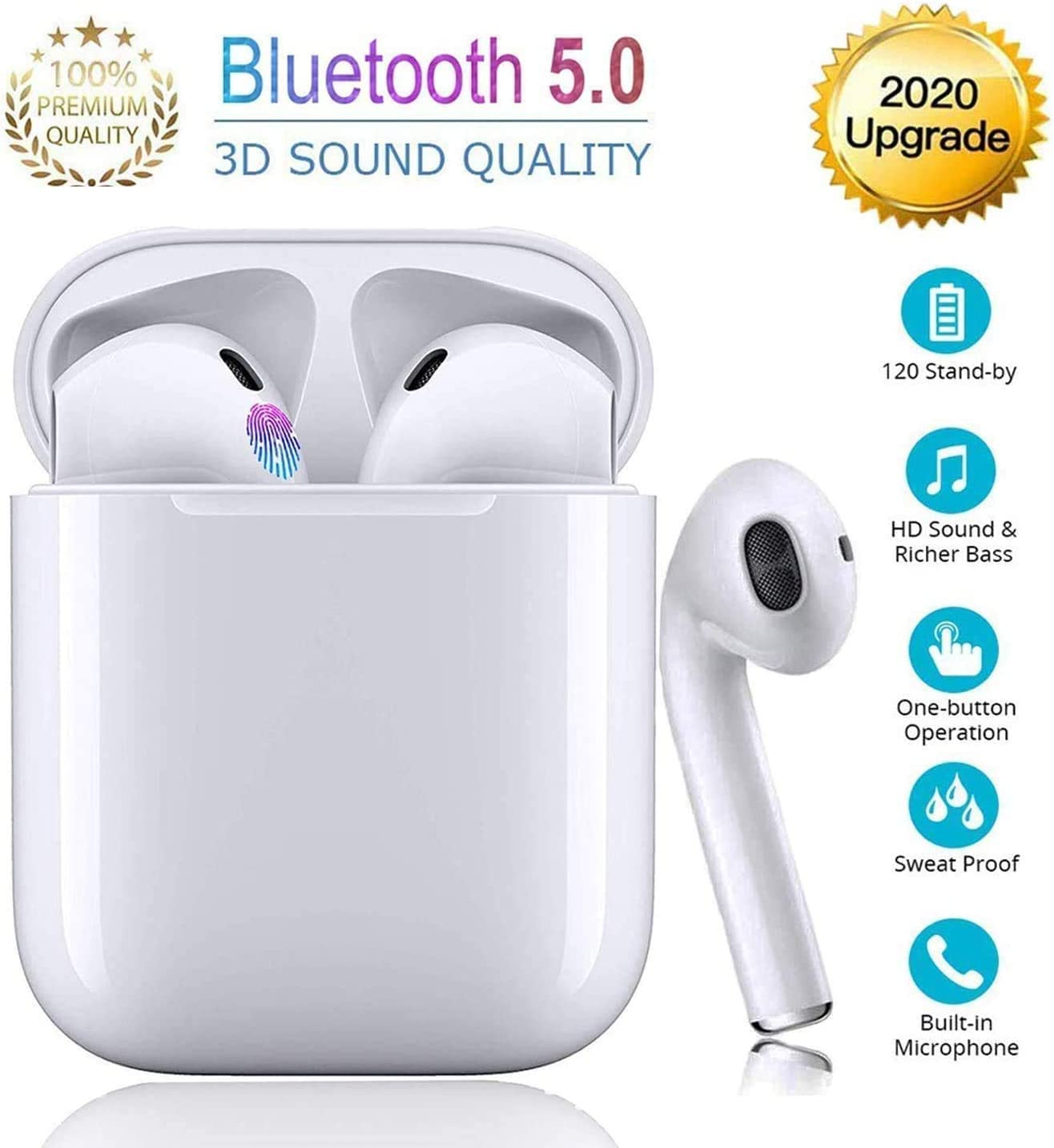 Auriculares inalámbricos Bluetooth,Estéreo In-Ear, Conveniente estuche de carga, Wireless Earbuds Deportivos Headsets con Micrófono Reducción de Ruido Cascos para iPhone/iPas/Android/AirPods/Huawei