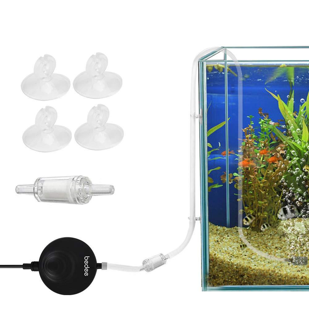 bedee Aquarium Luftpumpe Pumpe Sauerstoffpumpe Mini Oxygen Luftpumpe Aquarium Super Leise Sauerstoff für Aquarium mit Rückschlagventil Schwarz Luftpumpenzubehör Super Leise Luftpumpen