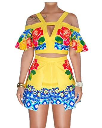 ebd90961cb2e EKU Women s Summer Floral Print Crop Top Short Pants Jumpsuits Rompers 2  Piece Outfit Set Yellow