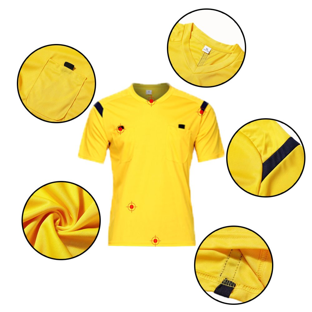 0fbfd7f0c7c Firelong Sports Referee Jersey Suit Uniform Kit - Shirt + Shorts for Football  Soccer Rugby