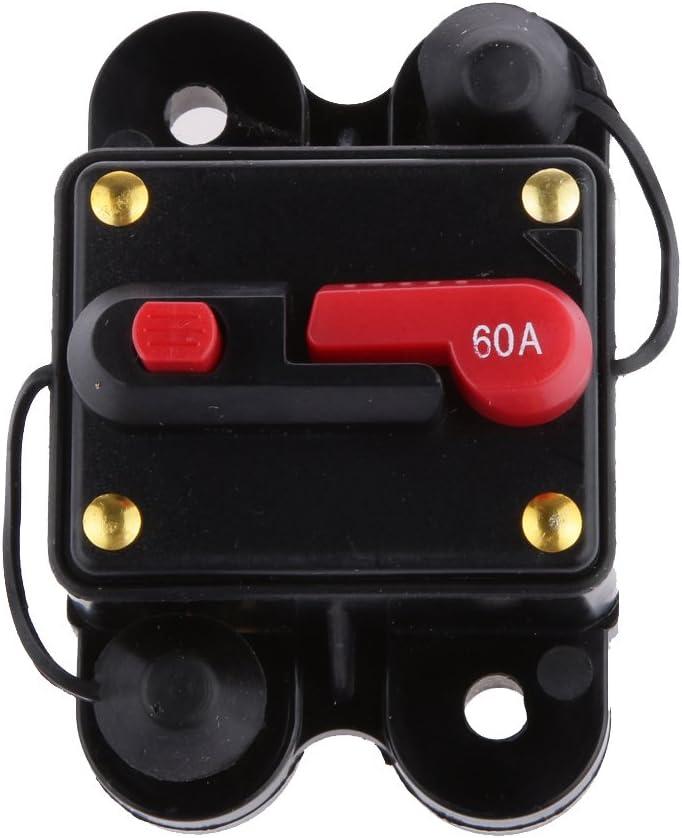 Shiwaki 2pcs 12V-24V Inline Waterproof Disjoncteur 60 AMP Commutateur R/éinitialisation Manuelle